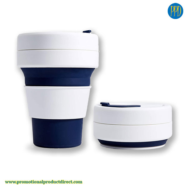 navy blue promotional product collapsible folding silicone coffee cup