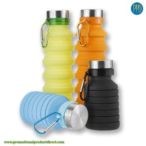 logo ready silicone water bottle folding and collapsible