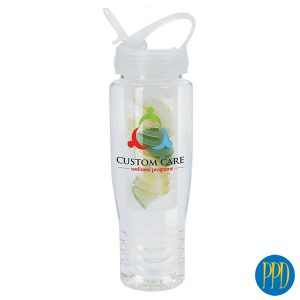 Water bottle with flavor filter.Water bottle with straw and flavor filter. Infuse your water with fresh fruit in this flavor filter water bottle. Perfect for gym and fitness centers.Promotional Product Direct