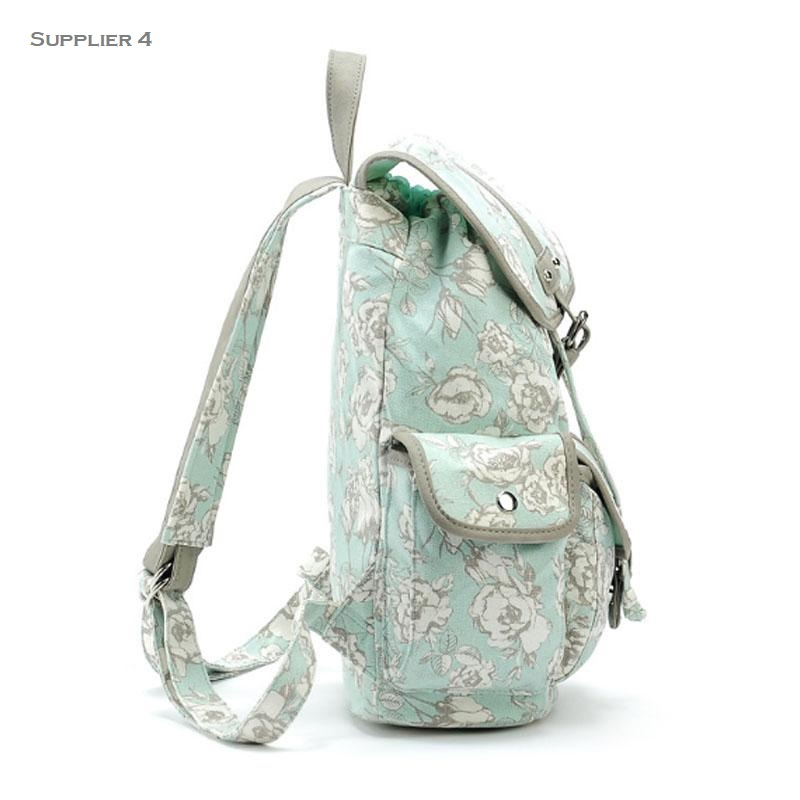 floral print backpack side view