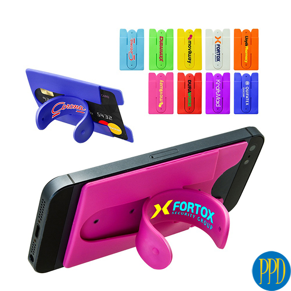 Phone stand with silicone wallet