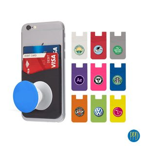 Popster Phone Wallet. It's time to get your b2b marketing back on track. Get your logo on the very popular Popster Silicone Phone Wallet and Phone Stand. Call 1-888-880-2714