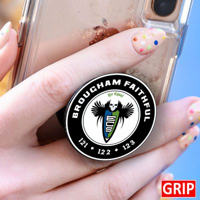 Get your logo or event logo on a pound inexpensive pop phone socket stand smartphone gri. Factory direct. Perfect for trade shows, b2b marketing and marketing branding giveaways.